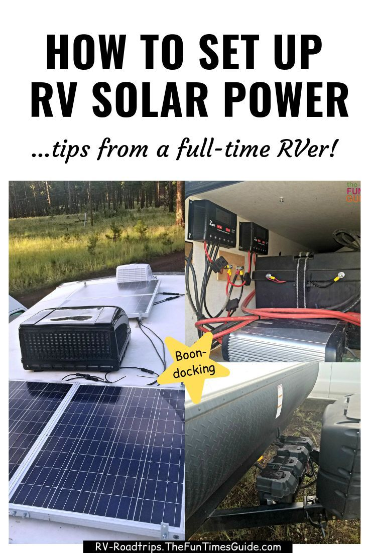 RV Solar Power Setup - a full-time RVer shows you how to set up your RV solar system yourself. Now you can enjoy boondocking or living off the grid... to the fullest! #solar #solarpower #solarsystem #rvgadgets #rvliving #rving #rvcamping #boondocking #offthegrid #offthegridpower #funtimesguide