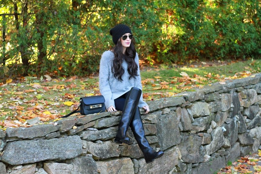 beanie  |  sweater  |  jeans  |  boots  | bag  (Proenza Schouler)  |  sunnies  |  foundation  |  lipgloss  (color: 'D...