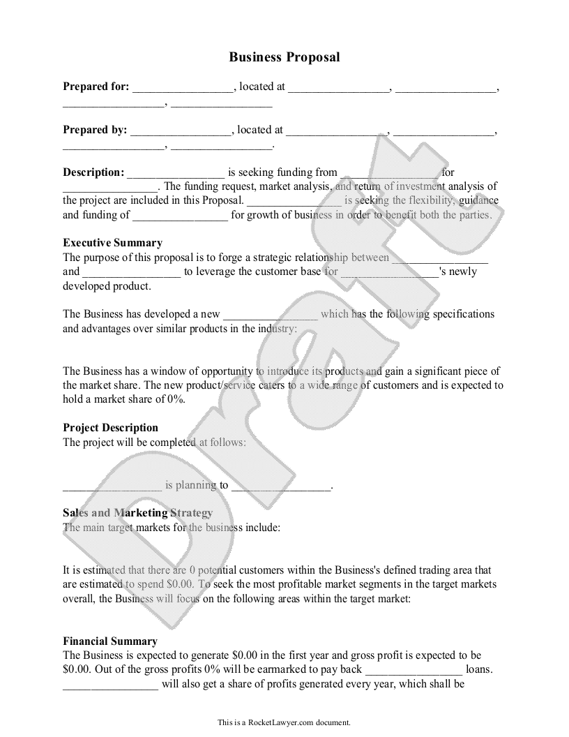 Doc575709 Sample Proposal Template Free Business Proposal – Proposal Sample Template