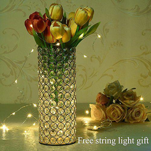 Vincigant Decorative Crystal Cylinder Vase For Christmas Decor Table