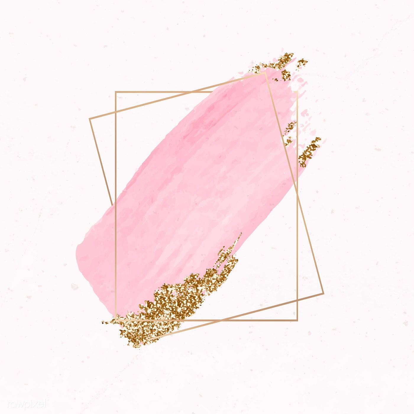 Download Premium Vector Of Gold Rectangle Frame On Pink Watercolor