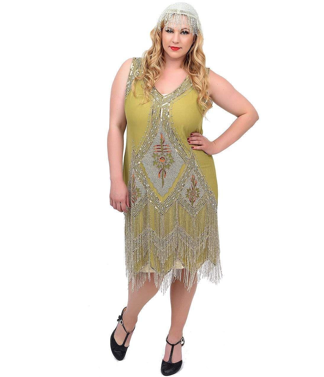 Unique Vintage Plus Size Green Silver Embroidered Somerset Flapper Dress Plus Size Flapper Dress Plus Size Vintage Clothing Plus Size Flapper Costume