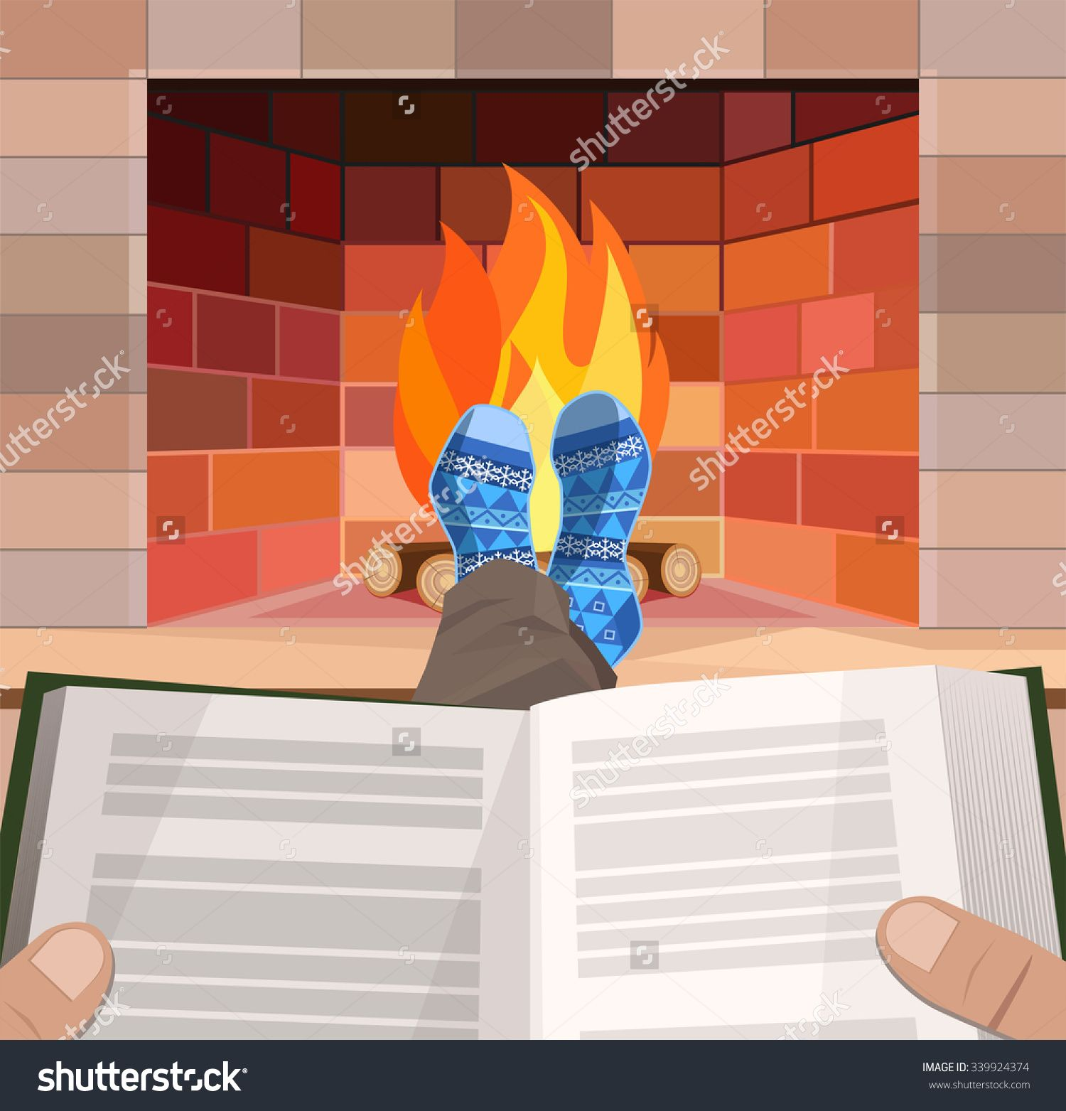 Man with the book lies in front of the fireplace, vector illustration
