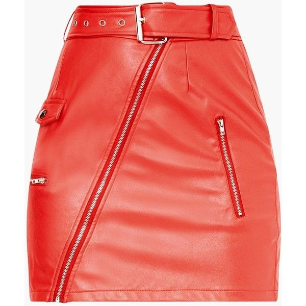 0ac46a800 Red Biker Belted Mini Skirt ($44) ❤ liked on Polyvore featuring skirts, mini