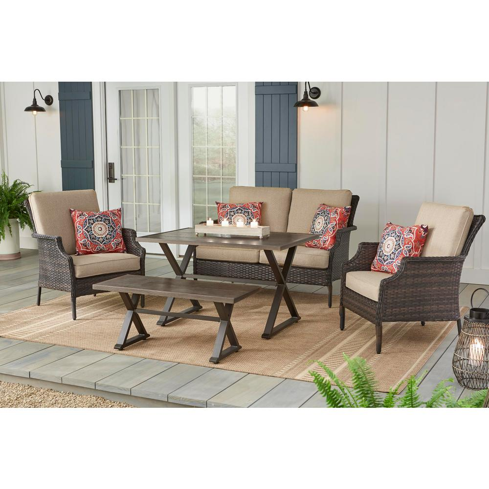 Hampton Bay Grayson Brown 5 Piece Wicker Patio Conversation Set With Toffee Cushions Fm 18066 A Br The Home Depot Best Outdoor Furniture Patio Dining Table Classic Home Furniture