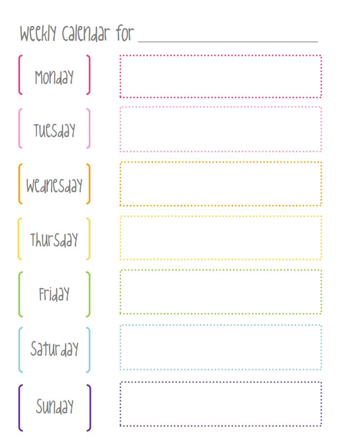 Weekly Calendarpdf Working On My Fitness Weekly Calendar