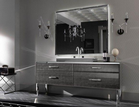 Milldue Mitage Hilton 02 Silver Alligator Glass Luxury Italian Bathroom Vanities Italian Bathroom Bathroom Vanity Vanity