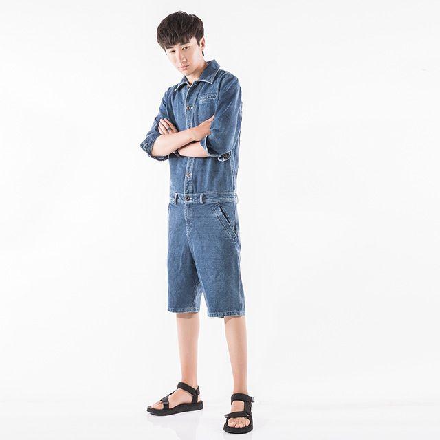 Men's Clothing New Men Denim Shorts Jumpsuits Rompers Harem Shorts Zipper Fashion Casual Jeans Jumpsuits Slim Fit Shorts Overalls
