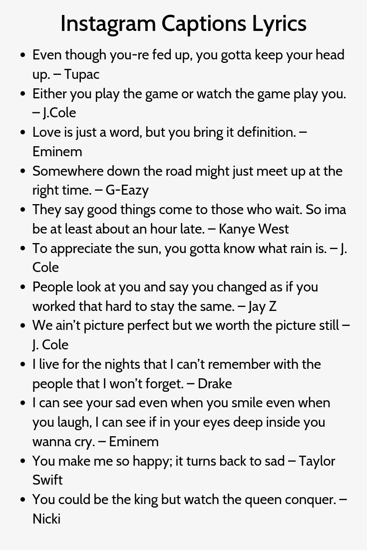 Lyrics for captions on pictures