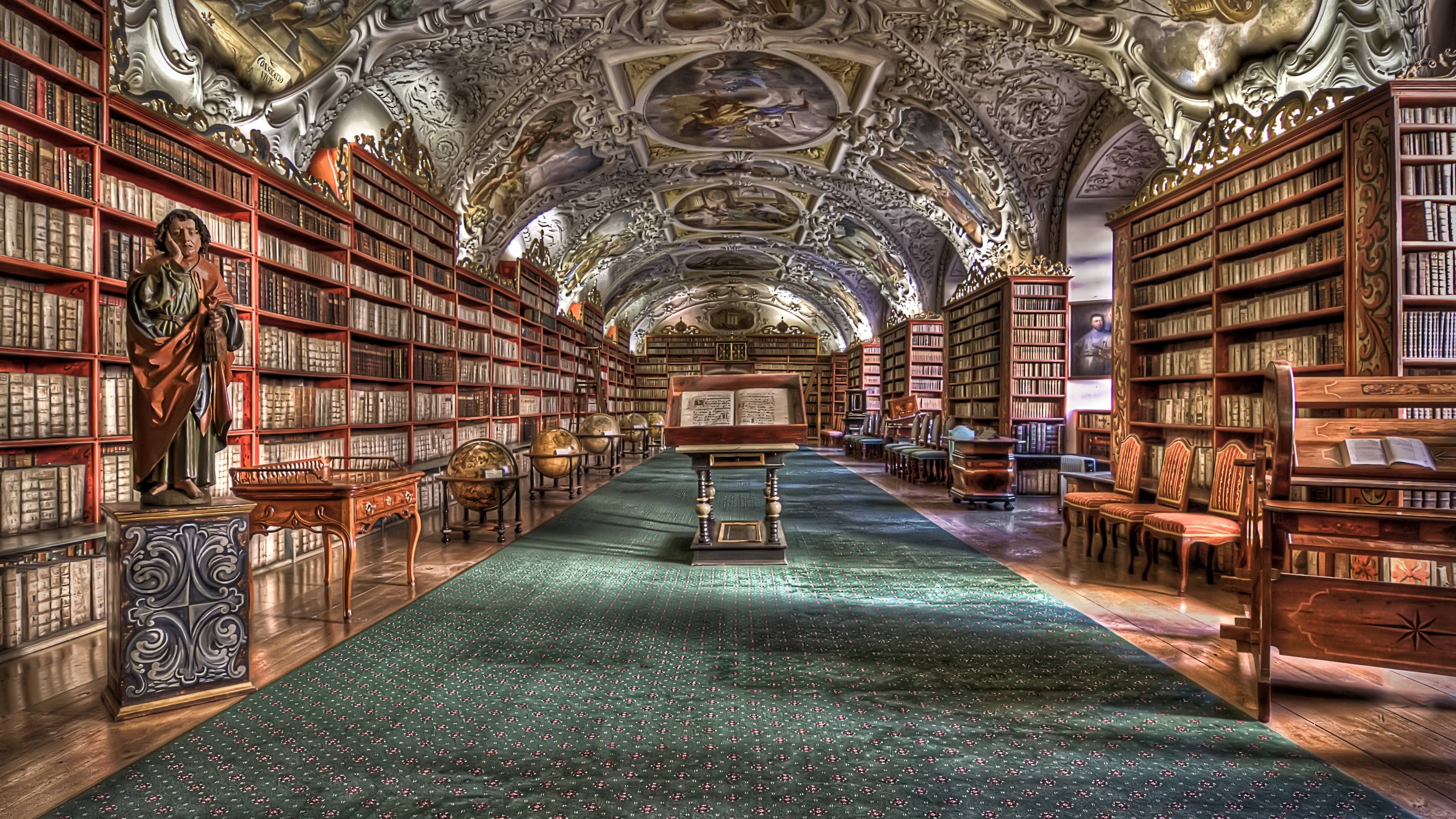 Beautiful Library Wallpaper Prague Library Free Library