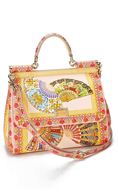 4cb60359cc14 Stunning Dolce   Gabbana  Miss Sicily  Fan Print Satchel