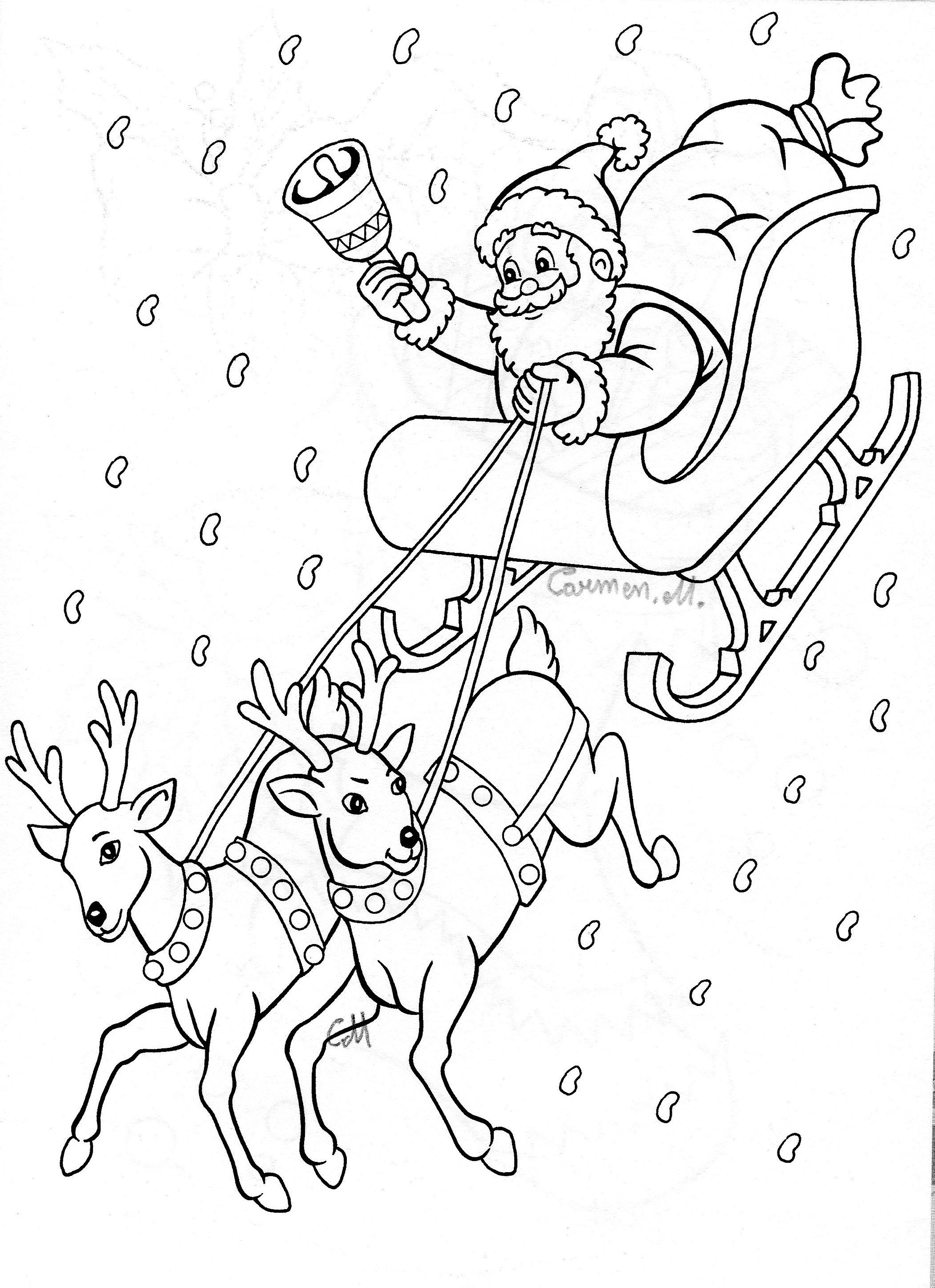 Santa And Sleigh Printable Christmas Coloring Pages Merry