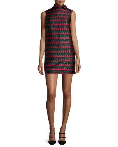 TBGCJ RED Valentino Sleeveless Cherry-Print Shift Dress, Black