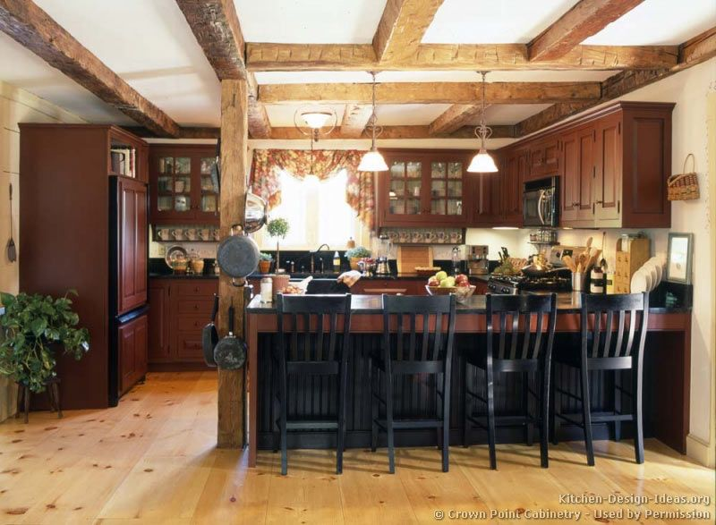 Love the beam work and the way what could be the dining for Kitchen designs american style