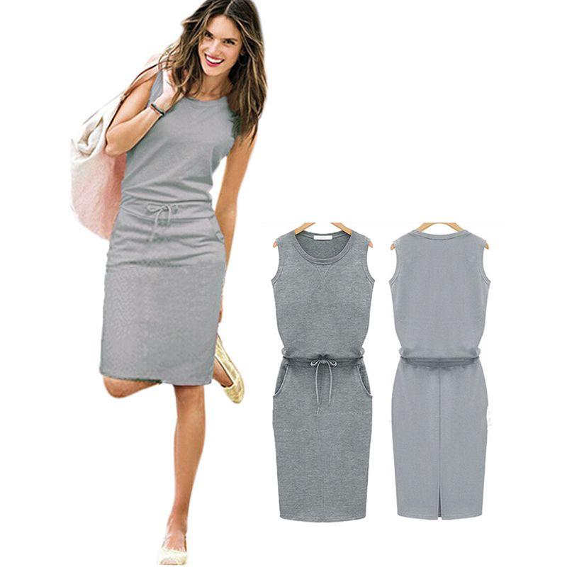 [Mascube] [mascube] 새로운 2016 섹시한 귀여운 여성 드레스 민소매 슬림 드레스 레이디 캐주얼 드레스 클럽 네이비 착용 그레이 핑크
