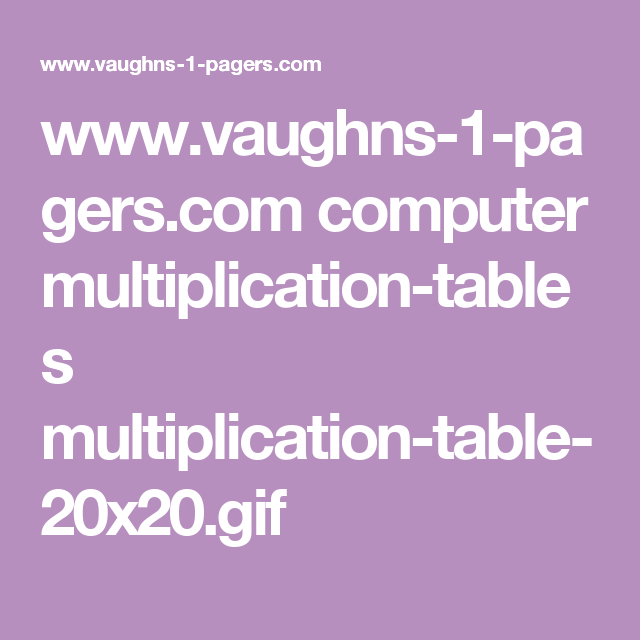 Vaughns 1 Pagers Computer Multiplication Tables
