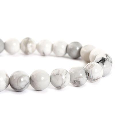 Perles rondes imitation turquoise 8 mm – Blanc | DeSerres