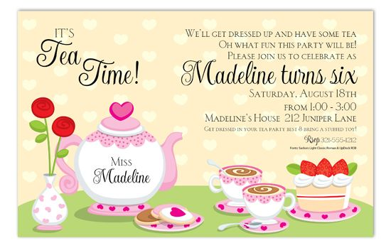 tea party invites- wording Ooooooooh!
