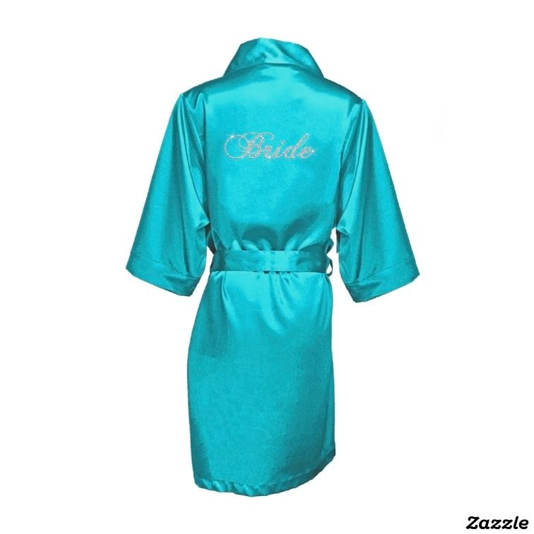 """Blue Green Satin Robe w/Bridal Party Title """"Bride"""",made by Girl ExtraOrdinaire"""