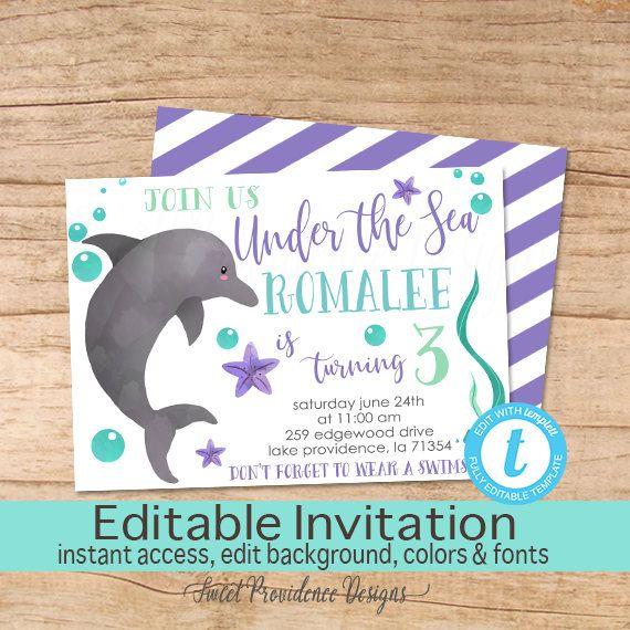 Dolphin Birthday Invitation Under the sea Invitation Girl