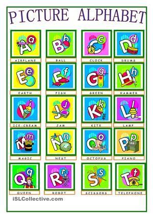 PICTURE ALPHABET | A-b-c and vowels | Pinterest