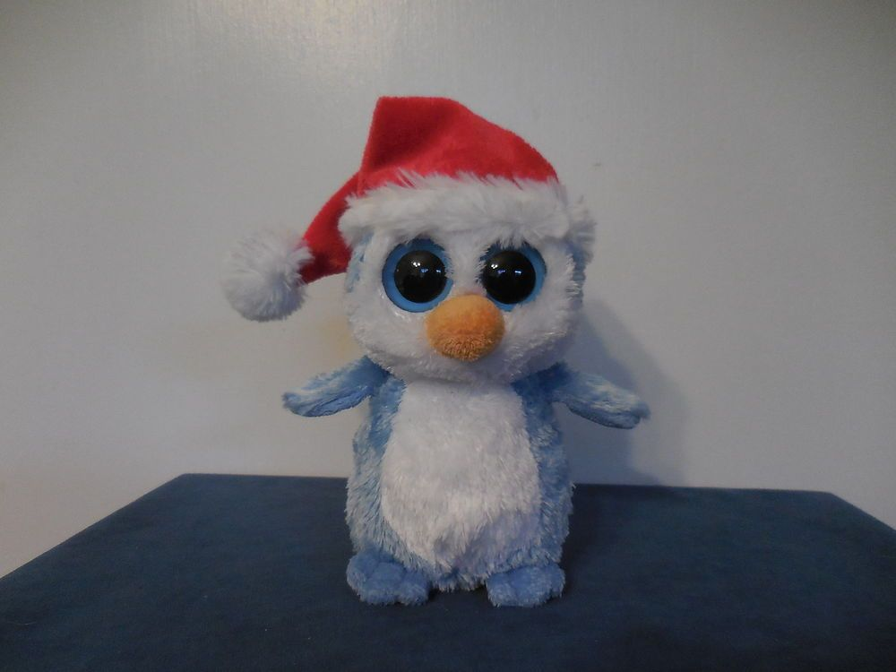 00ddd9466ad TY Beanie Boos FAIRBANKS the Penguin Santa Cap NO Glitter Eyes Purple Tush  Tag  Ty