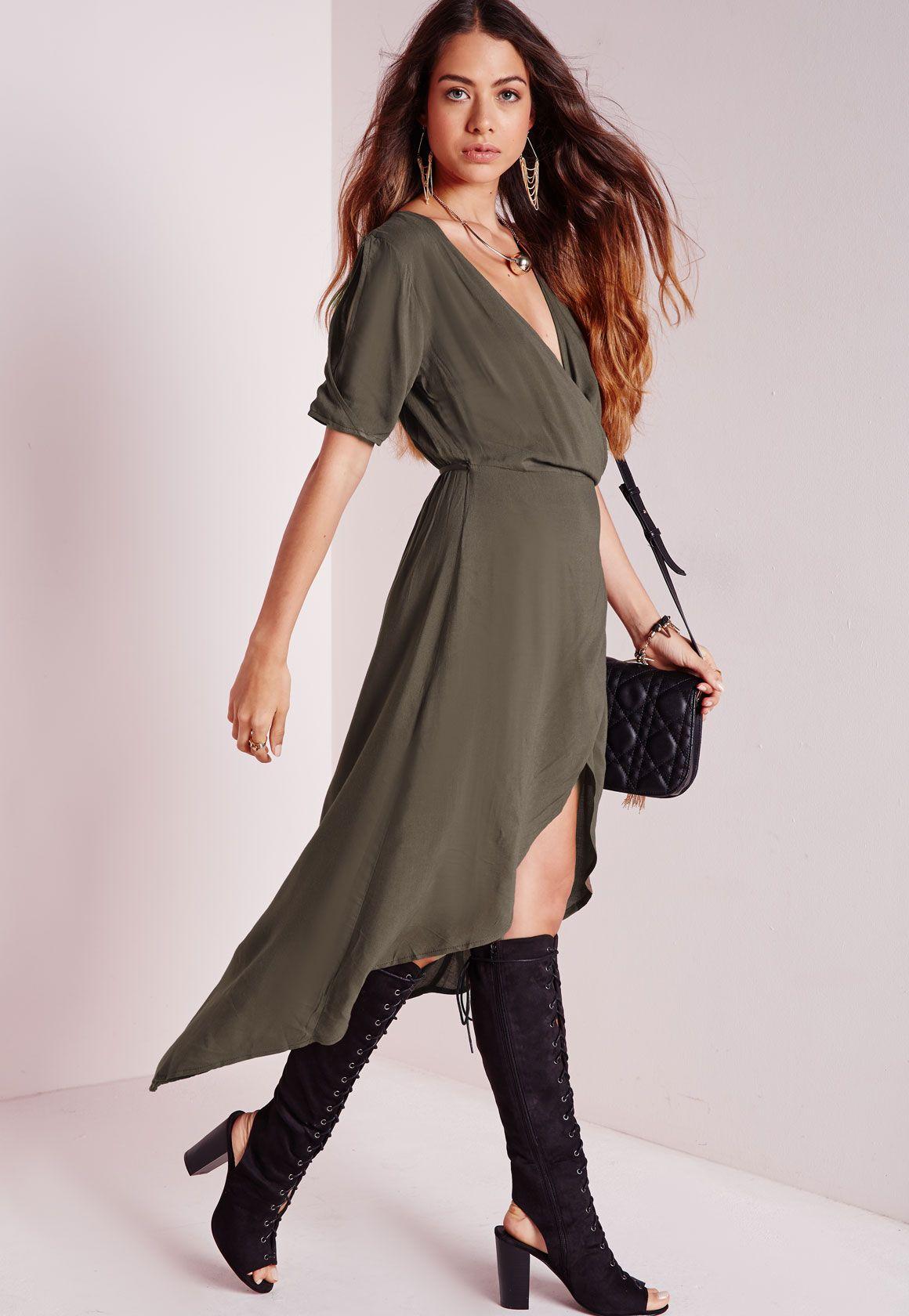 Dipped Hem Wrap Midi Dress Khaki - http://musteredlady.com/dipped-hem-wrap-midi-dress-khaki/  .. http://goo.gl/8dixL4    MusteredLady.com