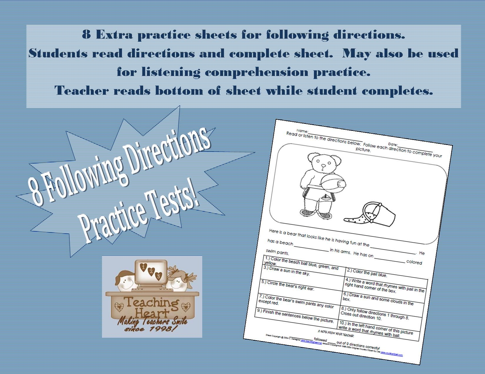 Following Directions Activity Sheets