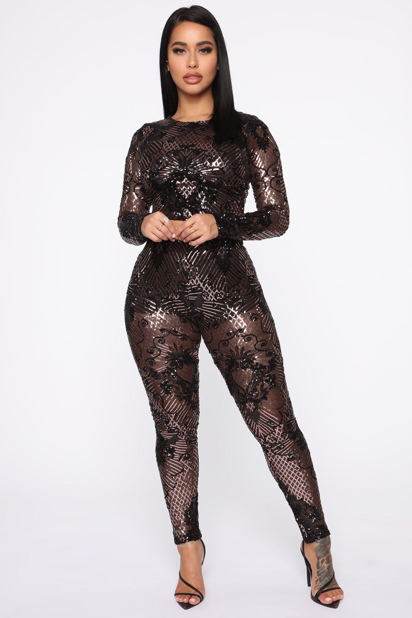 Taking The Night Sequin Set Black/Rose in 2020 Purple