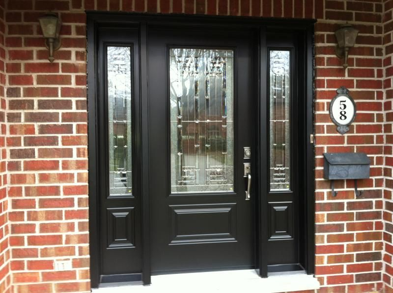 Black sidelights door curb appeal pinterest black for Black wooden front door