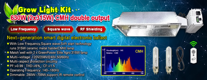 630W double output (2*315W) CMH grow light fixture kit