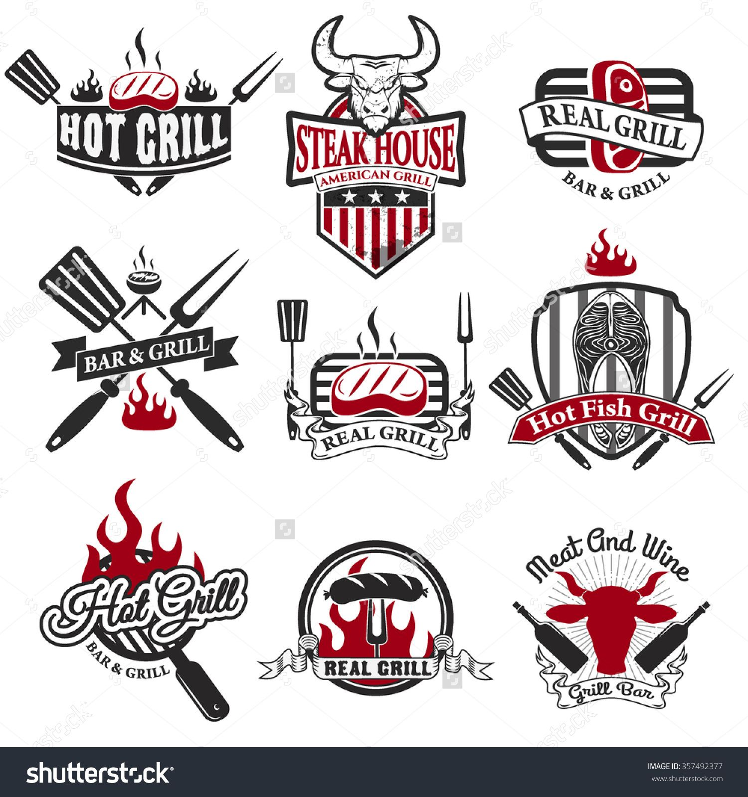 Set of grill bar labels logos and badges templates steak house restaurant logos buycottarizona Image collections