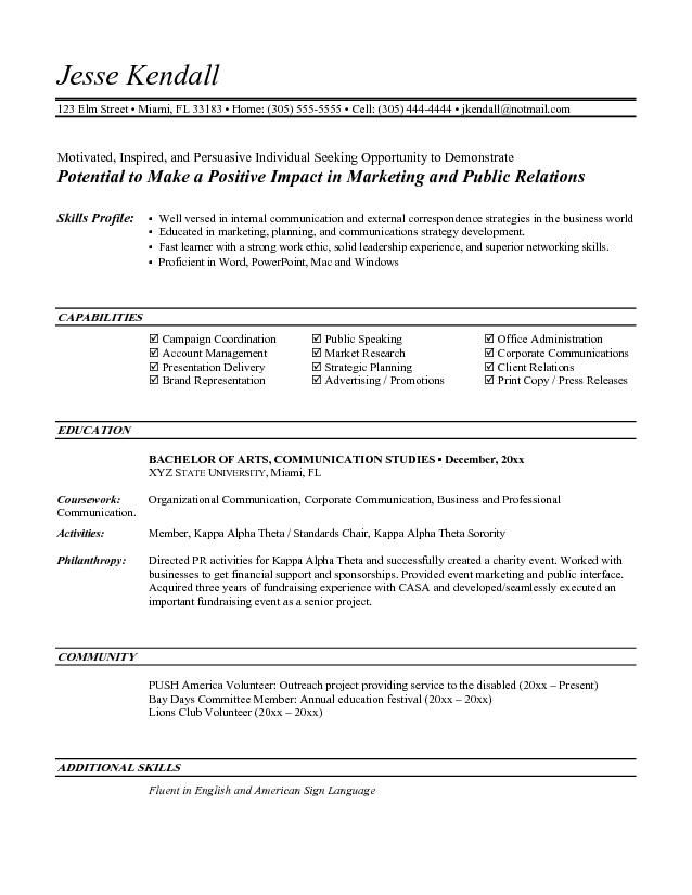 Entry Level Marketing Resume Objective