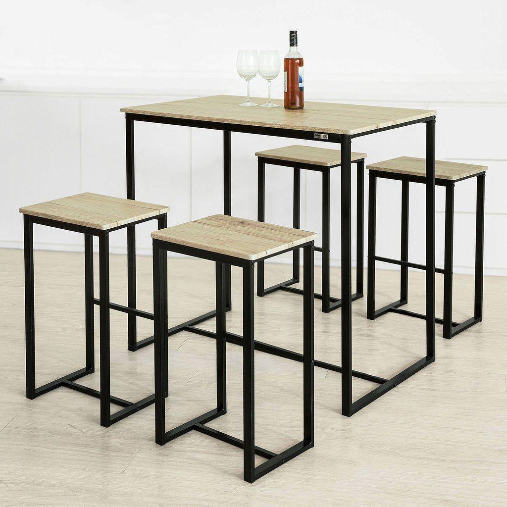 SoBuy | tavolo e sedie | tavolo alto | tavolo cucina | legno | OGT15 ...