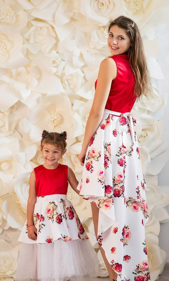 8e6536b07c61 Very feminine and beautiful set of matching dresses for mother and  daughter. Mommy and Me Shorter front longer back dress with floral print  are designed ...