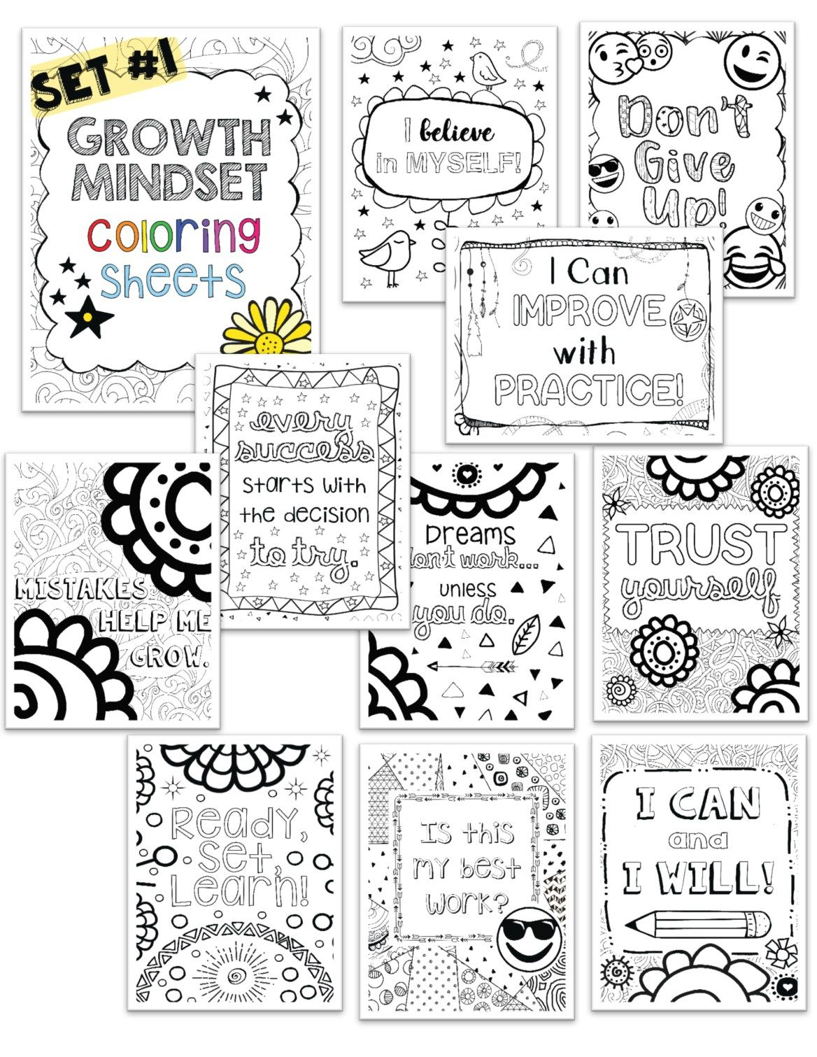 Growth Mindset Coloring Pages For Mindfulness Set 1