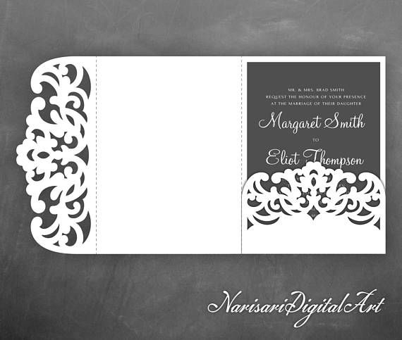 TriFold Pocket Envelope X Wedding Invitation Svg Template Lace