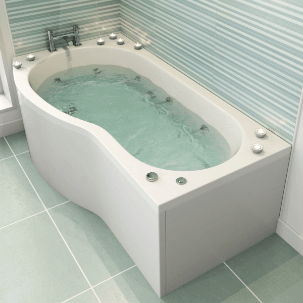 Delicieux Ceramica Left Handed P Shaped Bath 1500mm With 10 Jet Whirlpool