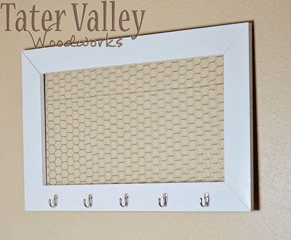 36x22.5 Chicken Wire Picture Frame with hooks by ModBabyDesigns www.etsy.com/shop/tatervalleywoodworks