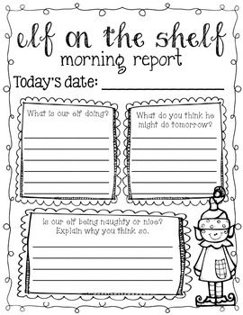 Freebie Elf On The Shelf Morning Work Grades 3 5 Elf Classroom Writing Activities Elf On The Shelf