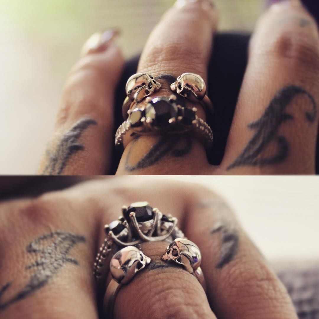 Lora Arellano On Instagram My Wedding Ring Paired With This Skulls Black Diamonds Ring From I Wedding Rings Skull Engagement Ring Tattoo Wedding Rings