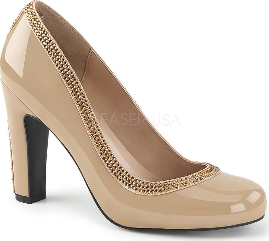 Queen 04 Cream Pat Preorder Pumps Pleaser Shoes Round Toe Pumps