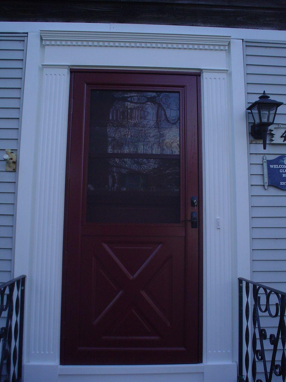 Aluminum Provia Front Storm Door With Pvc Trim After Screen Doors Exterior Wood Garage
