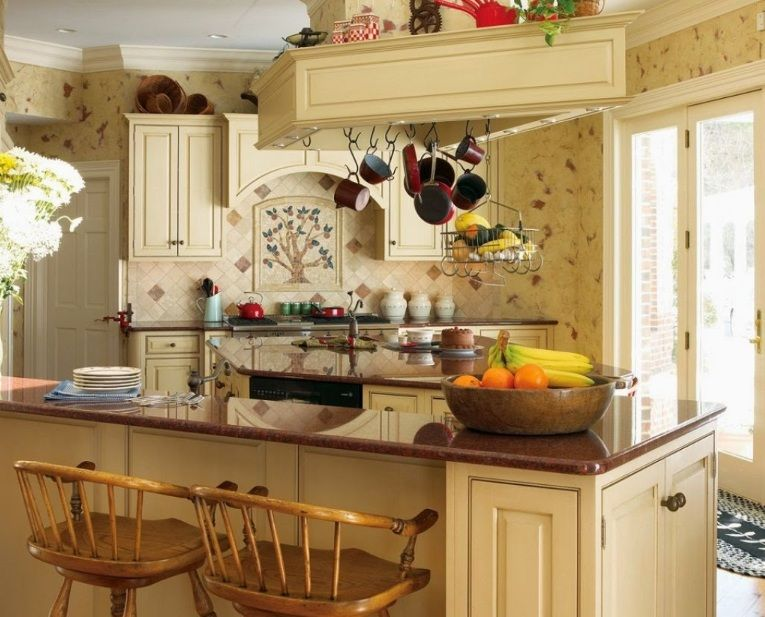 Country Kitchen Wall Decor With Old Kitchen Wallpaper Motif | Decolover.net