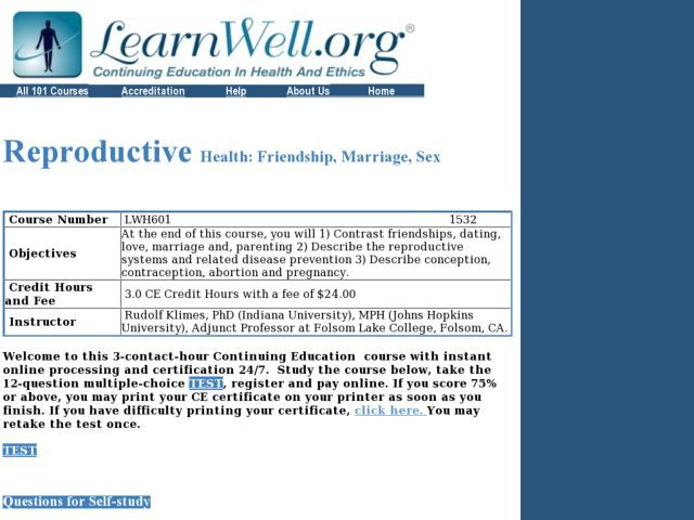 Reproductive Health Friendship, Marriage, Sex Lesson Plan - health lesson plan