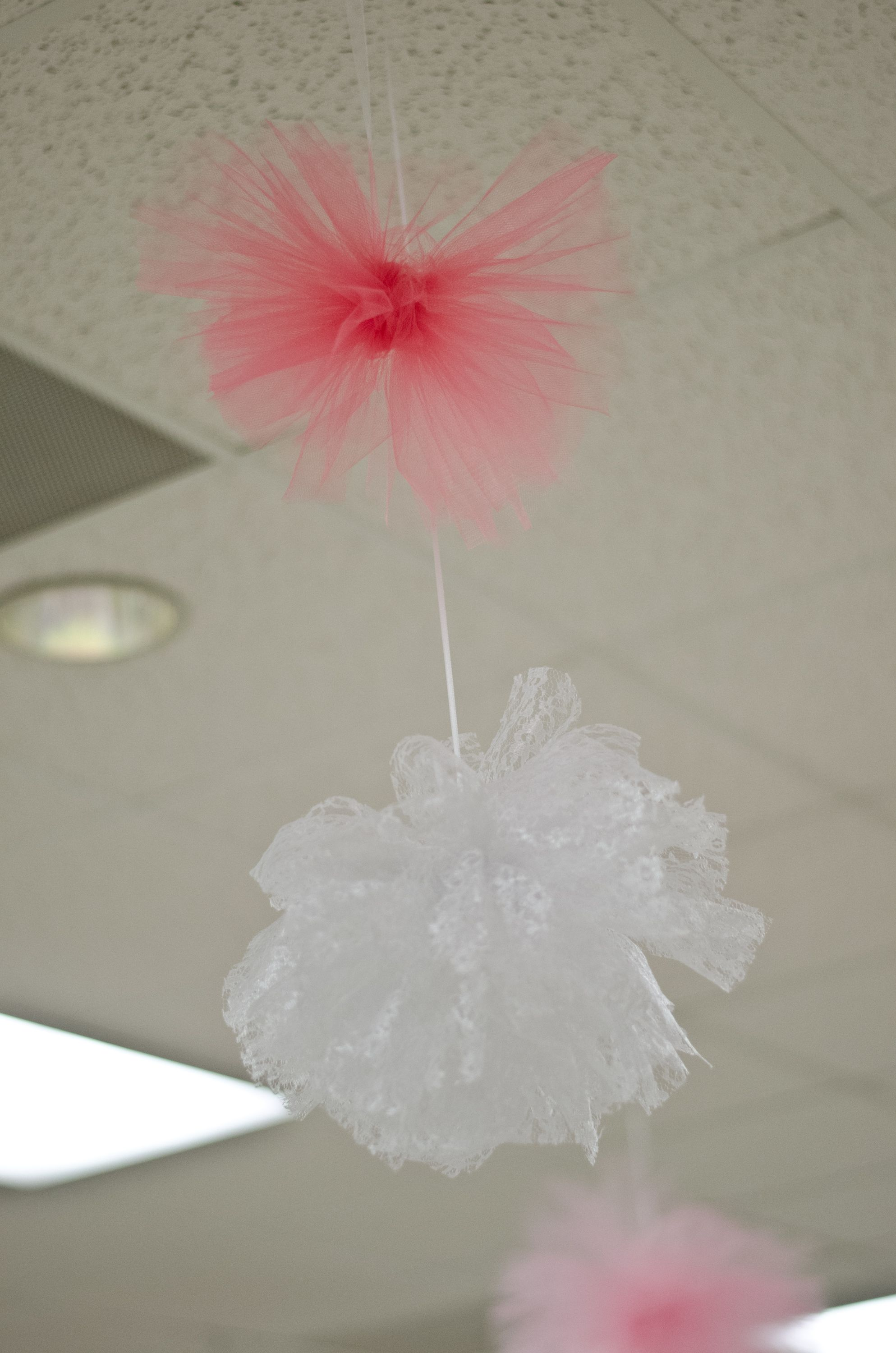 Handmade tulle and lace pompom teal pink burlap wedding décor