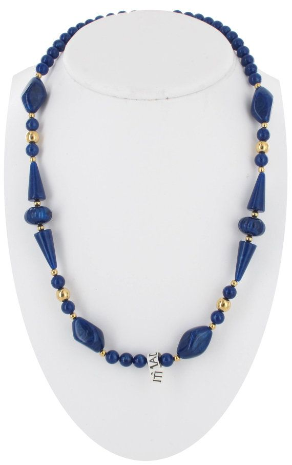 Pearly Royal Blue Beaded Necklace Long 1980s by KensieKitsch