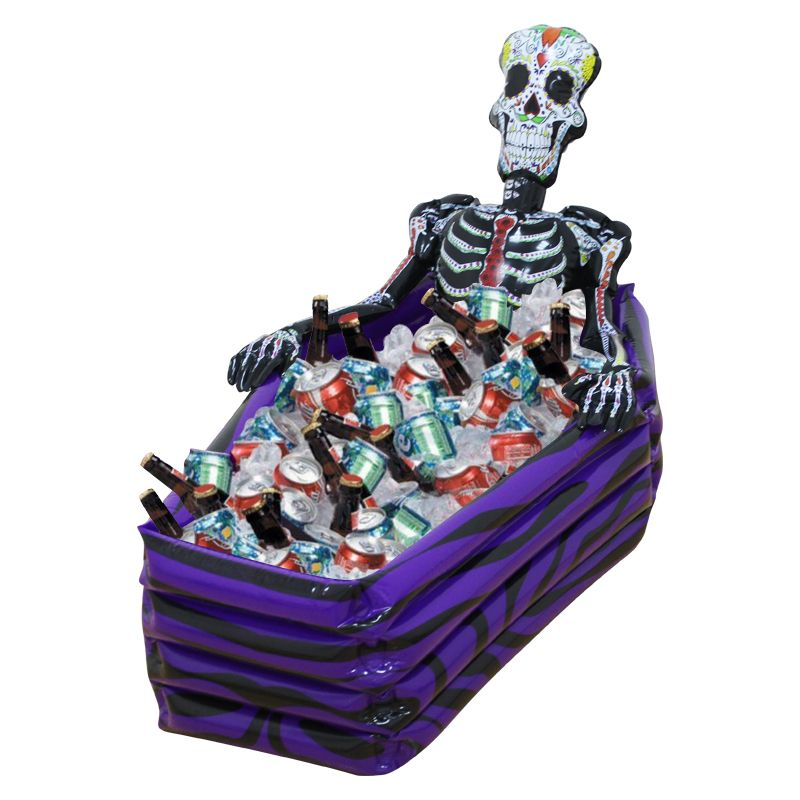 hot sale halloween decoration pvc inflatable coffin drink cooler skeleton ice buckets toy party decor