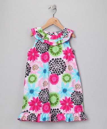 Take a look at this Blue & Lime Yoke Dress - Girls by Pretty Pizzazz: Dresses & Sets on #zulily today!