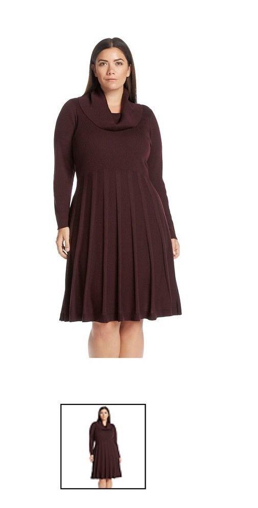 32e21f764c2 Calvin Klein Plus Size Cowl Neck Sweater Dress Color Aubergine Sz 1x MSRP   128